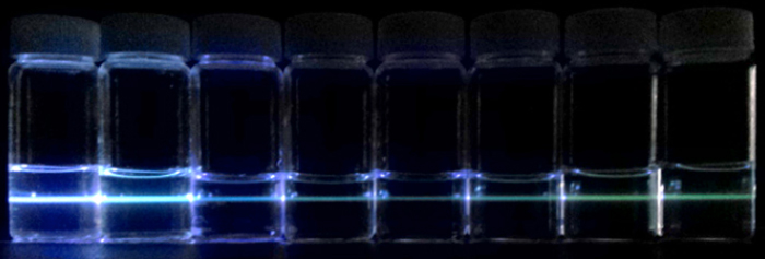 Figure. Photoluminescence from graphene quantum dot solutions prepared by Professors Cho and Seo.